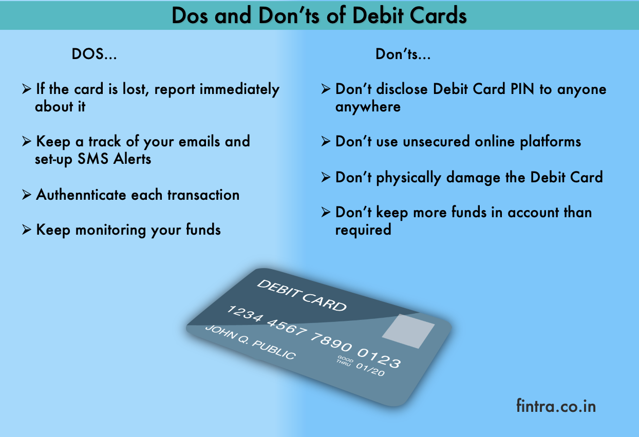 dos and donts of debit card
