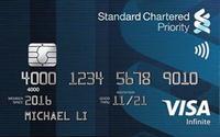स्टैंडर्ड चार्टर्ड प्रायऑरिटी वीज़ा इनफाइनाइट क्रेडिट कार्ड